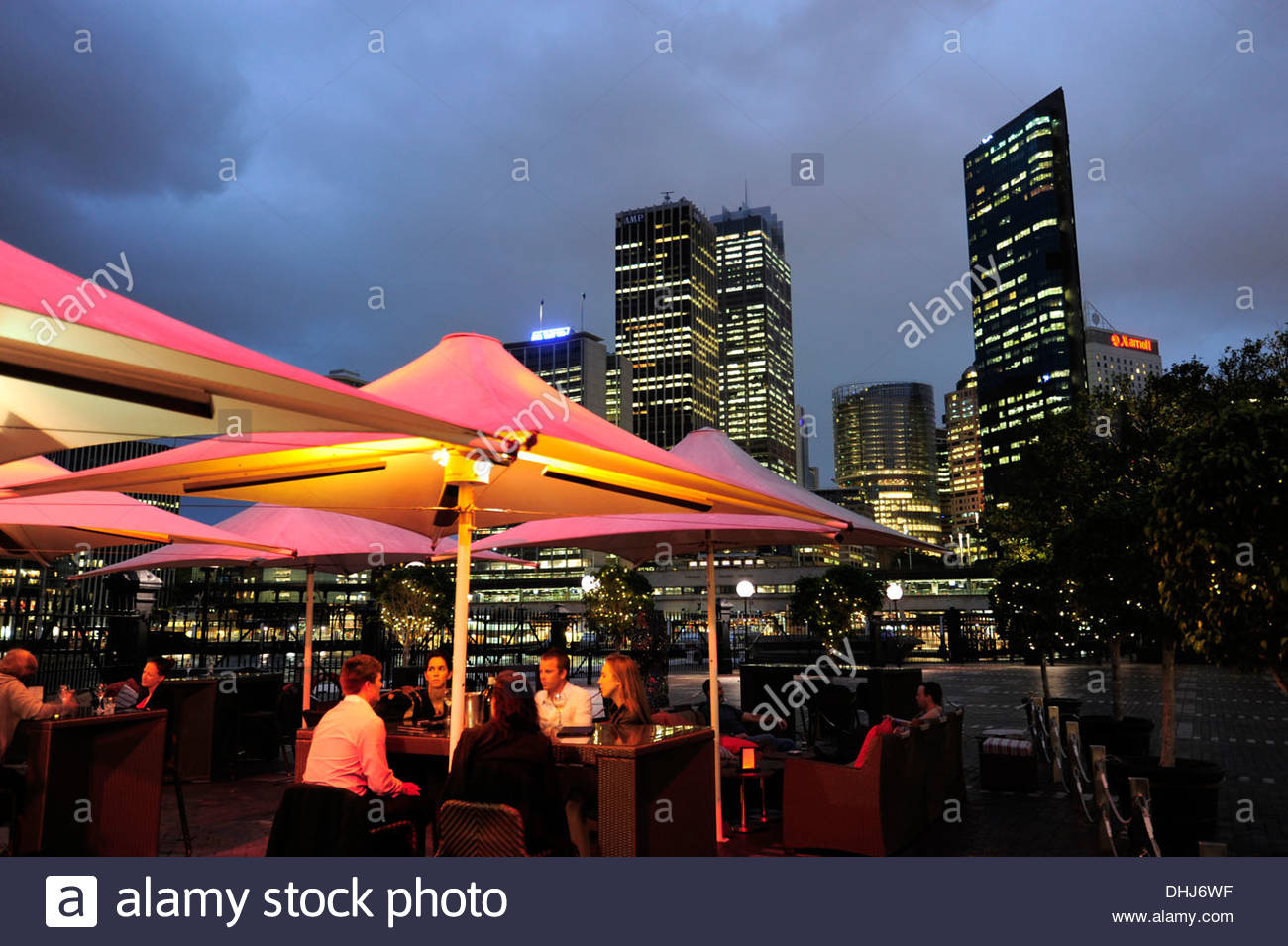 High rise buildings of the Central Business District, CBD, cafe terrace of the Cruise Bar at the Overseas Passenger Terminal in - Stock Image