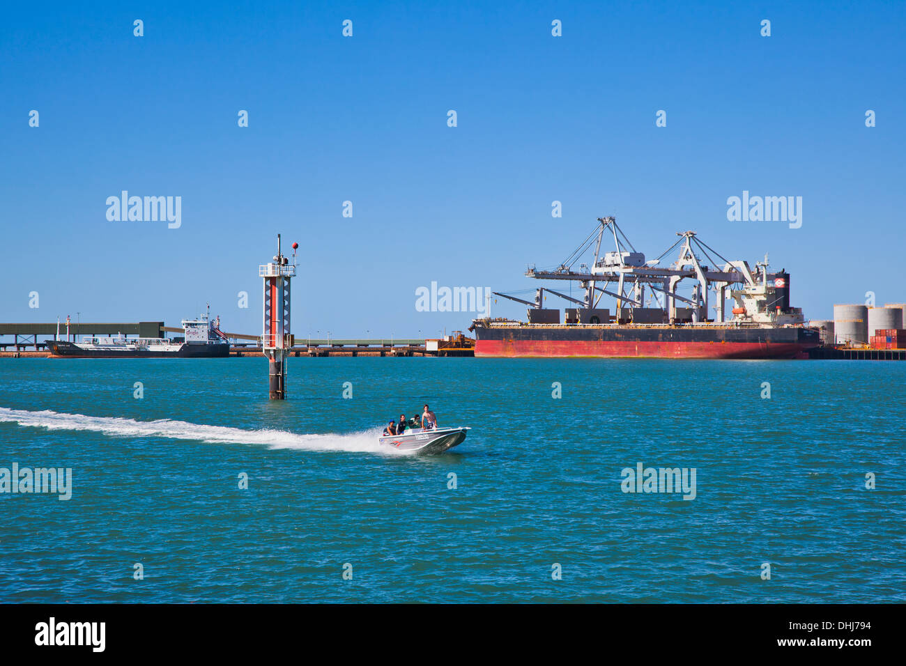 Australia, North Queensland, Port of Townsville, cargo ship at Berth 3 for container and Break Bulk handling - Stock Image