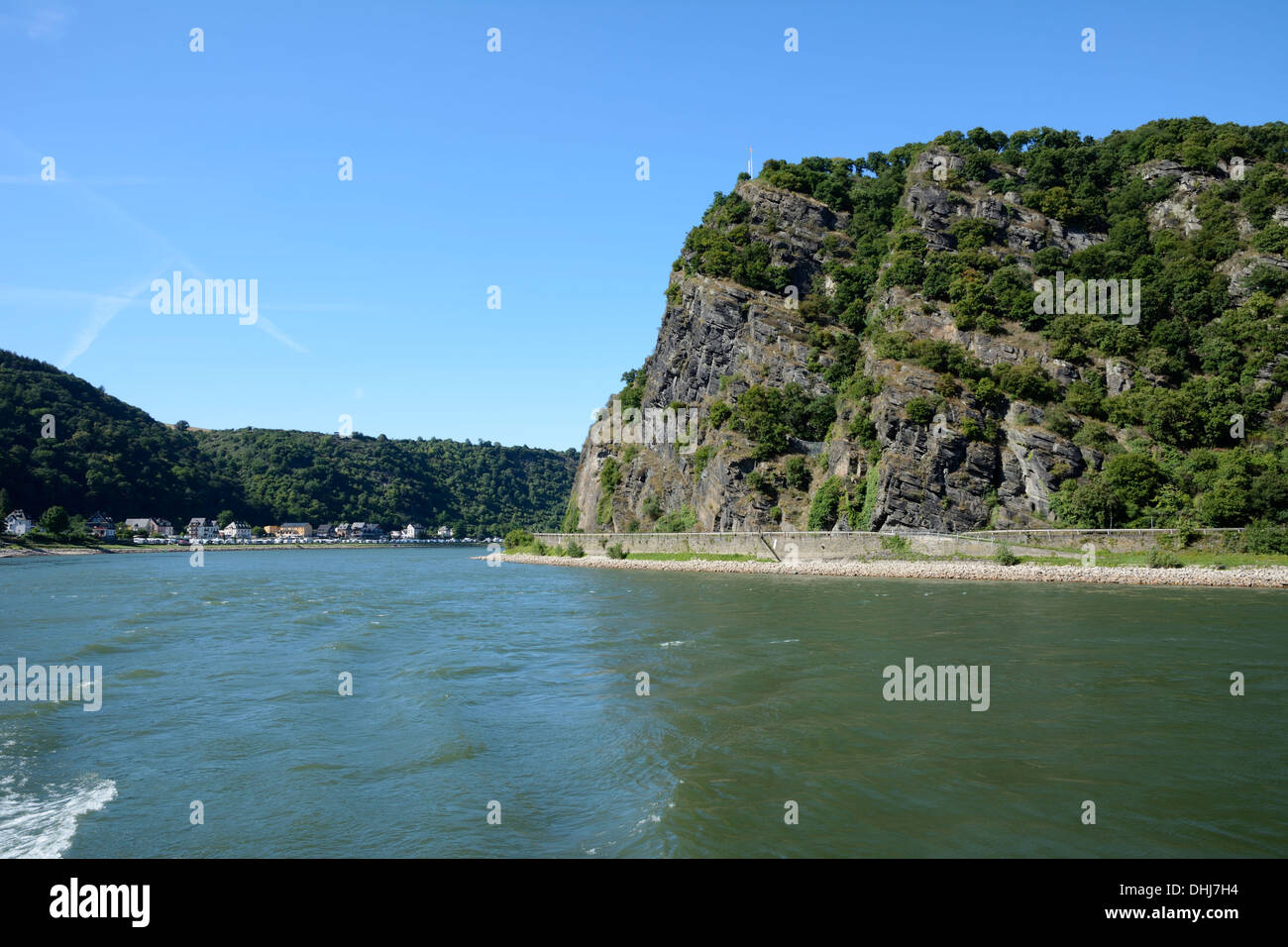 The legendary Loreley Rock at the river Rhine. Stock Photo