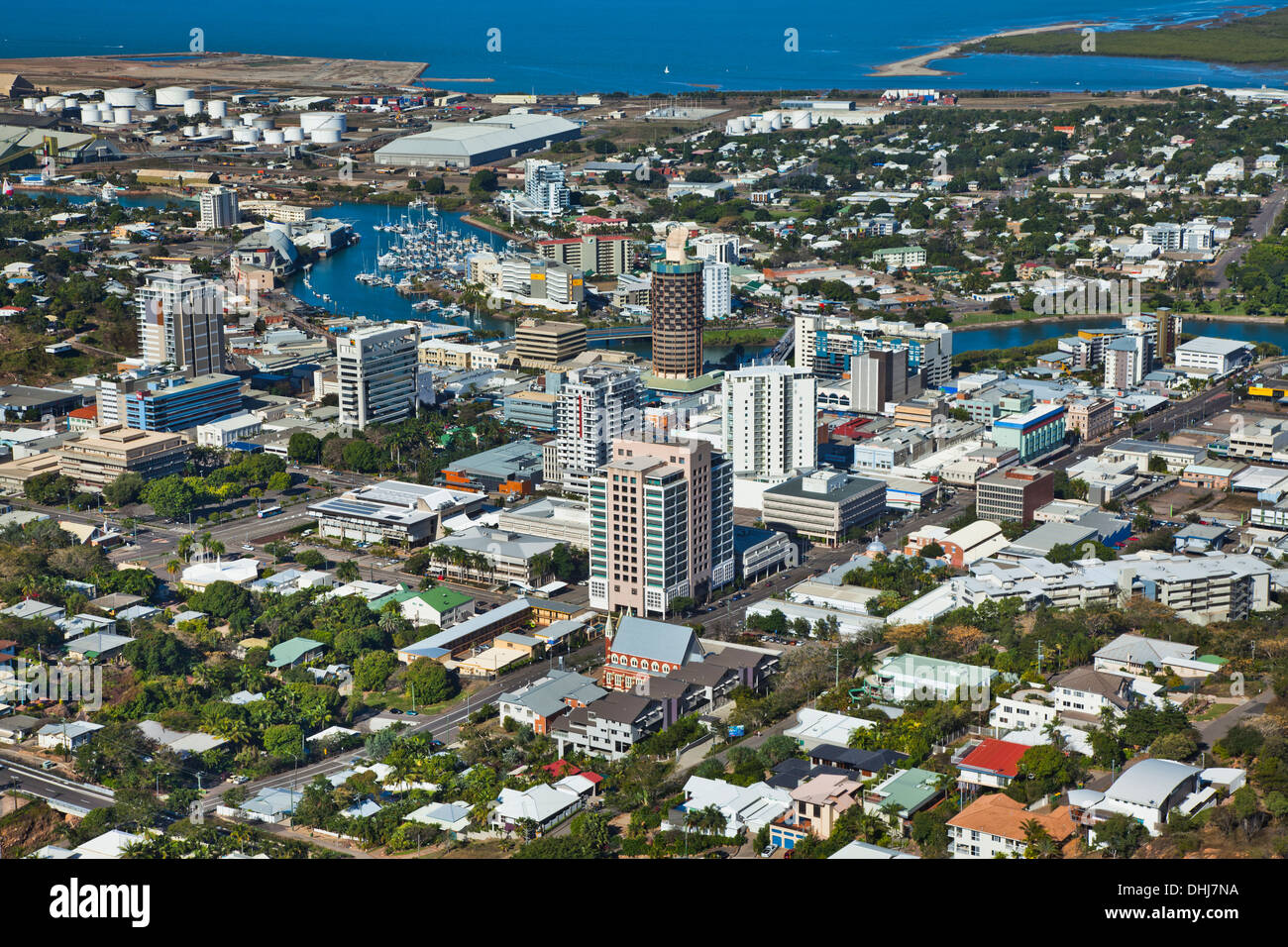 Australia, Queensland, Townsville, aerial view of the CBD - Stock Image