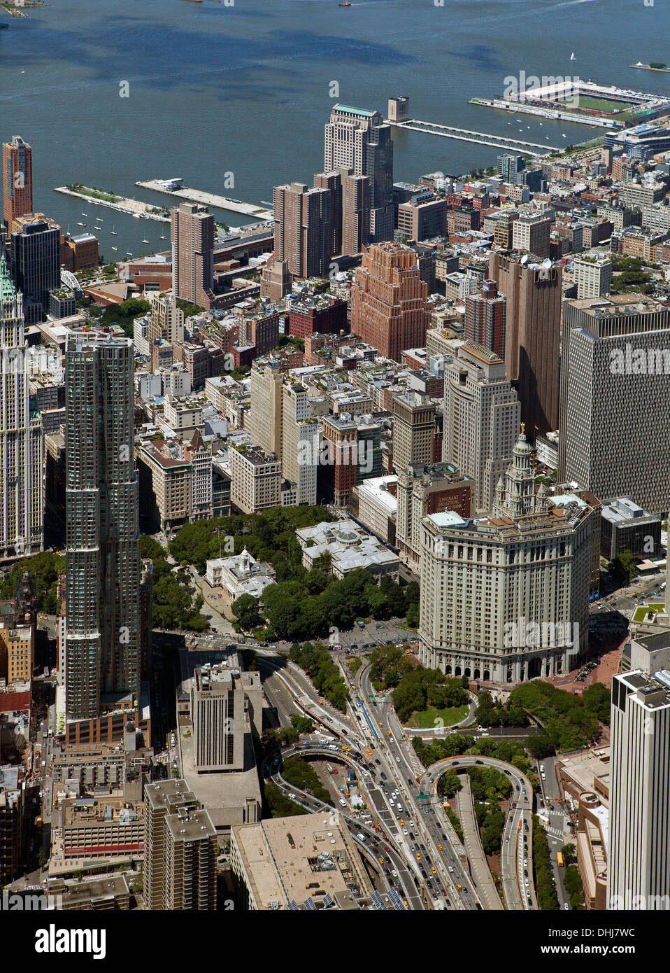 aerial photograph Civic Center, Municipal Building, City Hall, Manhattan, New York City - Stock Image