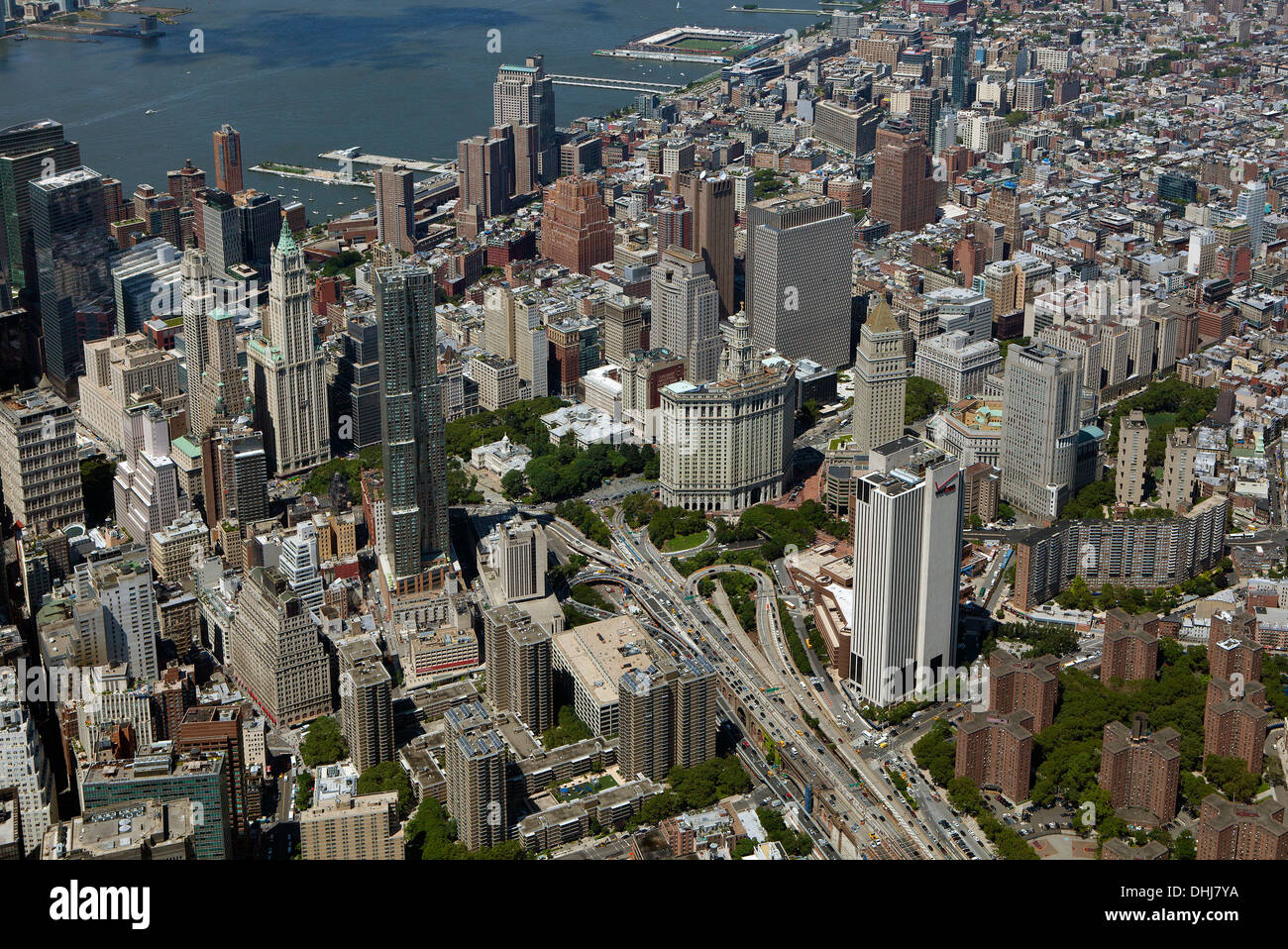 aerial photograph City Hall and Municipal Building, Civic Center, Manhattan, New York City - Stock Image