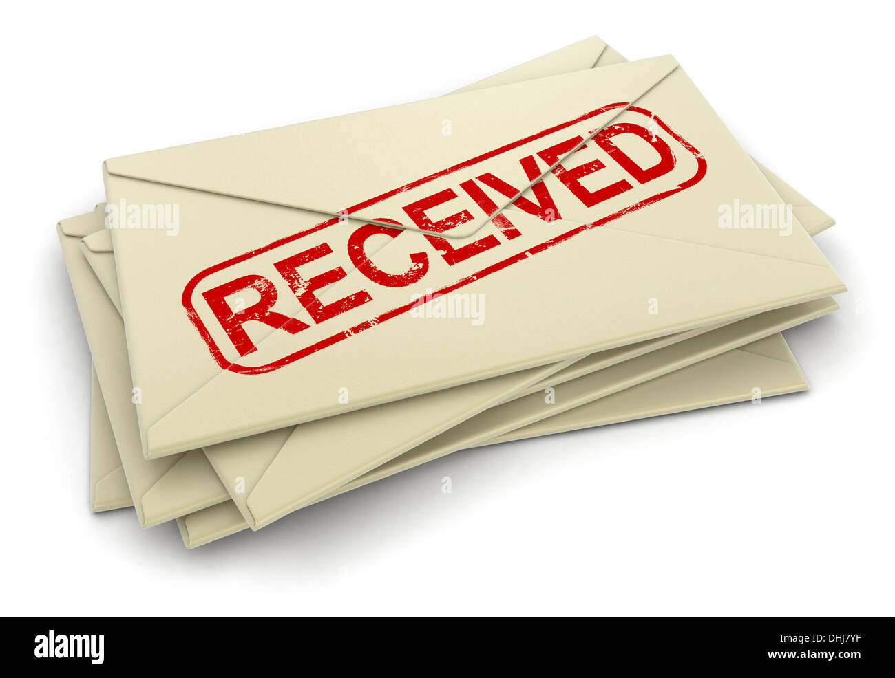 Received letters  (clipping path included) - Stock Image