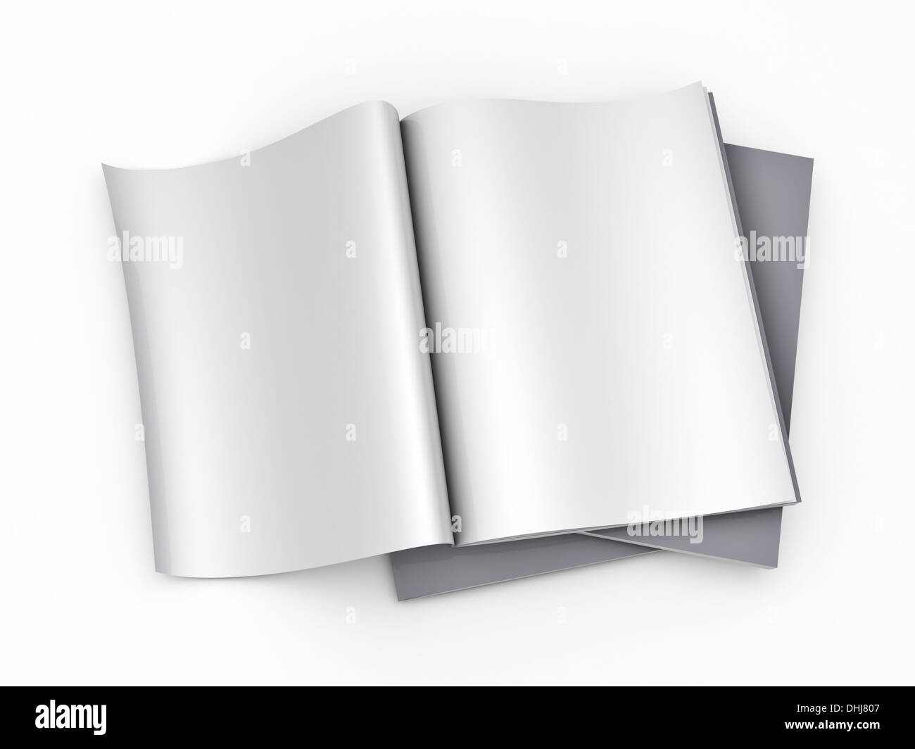 Magazine Blank Page Template Isolated On White Background Stock