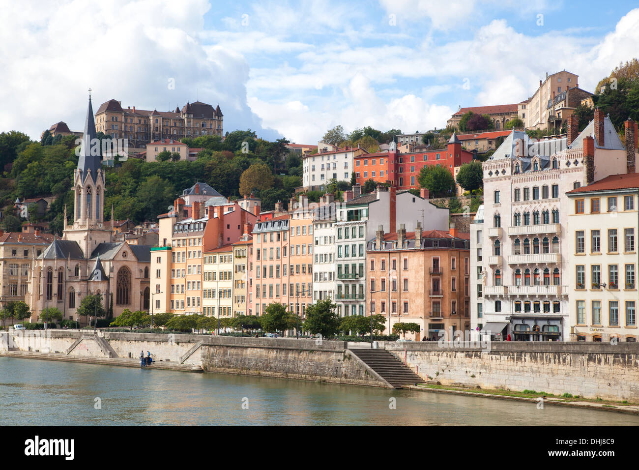 EGLISE SAINT-GEORGES Quai Fulchiron,Lyon,France - Stock Image