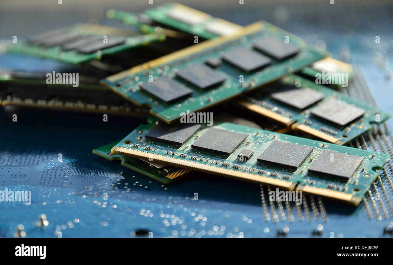 Pile of computer memory details - Stock Image