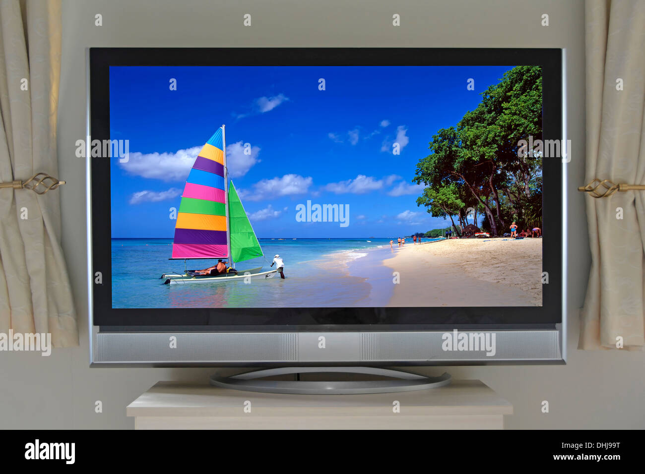 Flat panel 40' (diagonal) LCD television in room setting with photographers own copyright image inserted onto TV (see Alamy additional info panel) - Stock Image