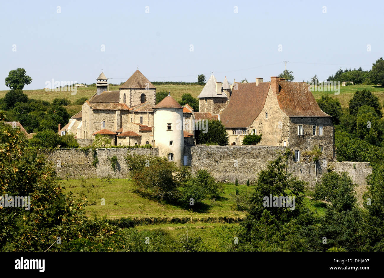 Abbey of Chantelle, valley of Sioule, Bourbonnais, Auvergne, France, Europe Stock Photo