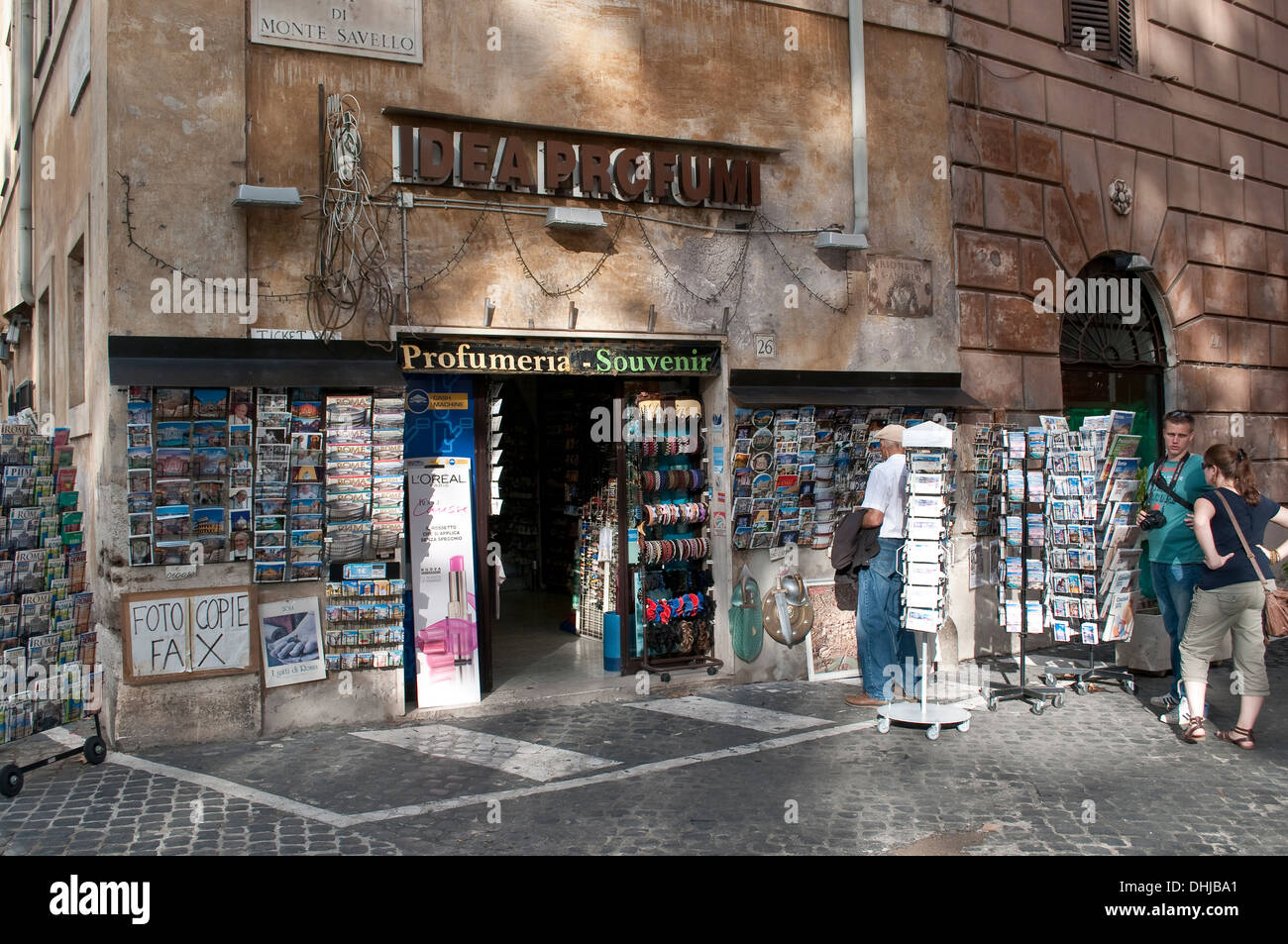 Tourist shop with postcards, Rome, Italy - Stock Image