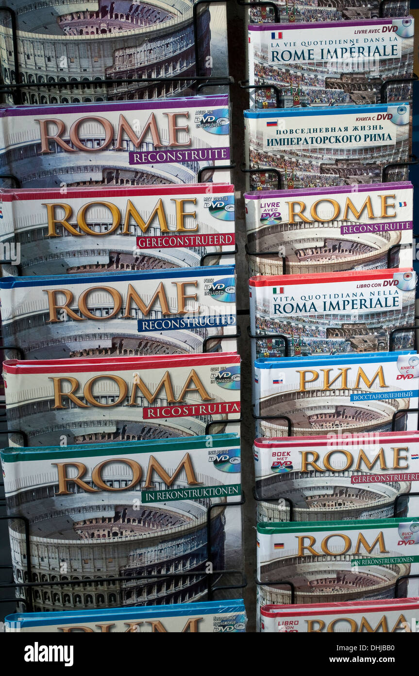 Guide books of Rome in different languages, Rome, Italy - Stock Image