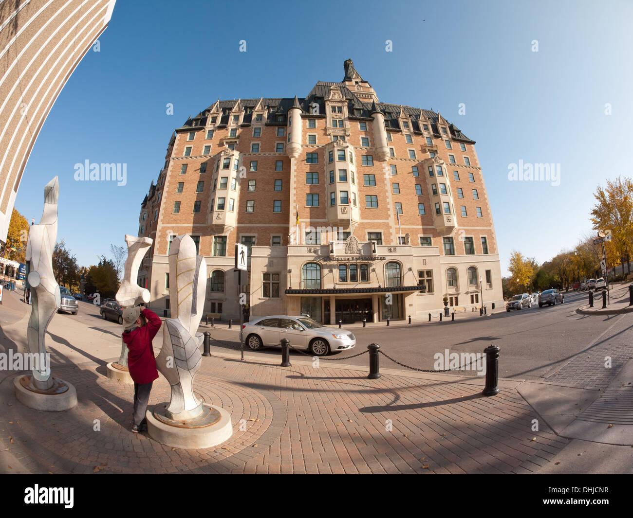 A fisheye view of the Delta Bessborough Hotel in downtown Saskatoon, Saskatchewan, Canada. - Stock Image