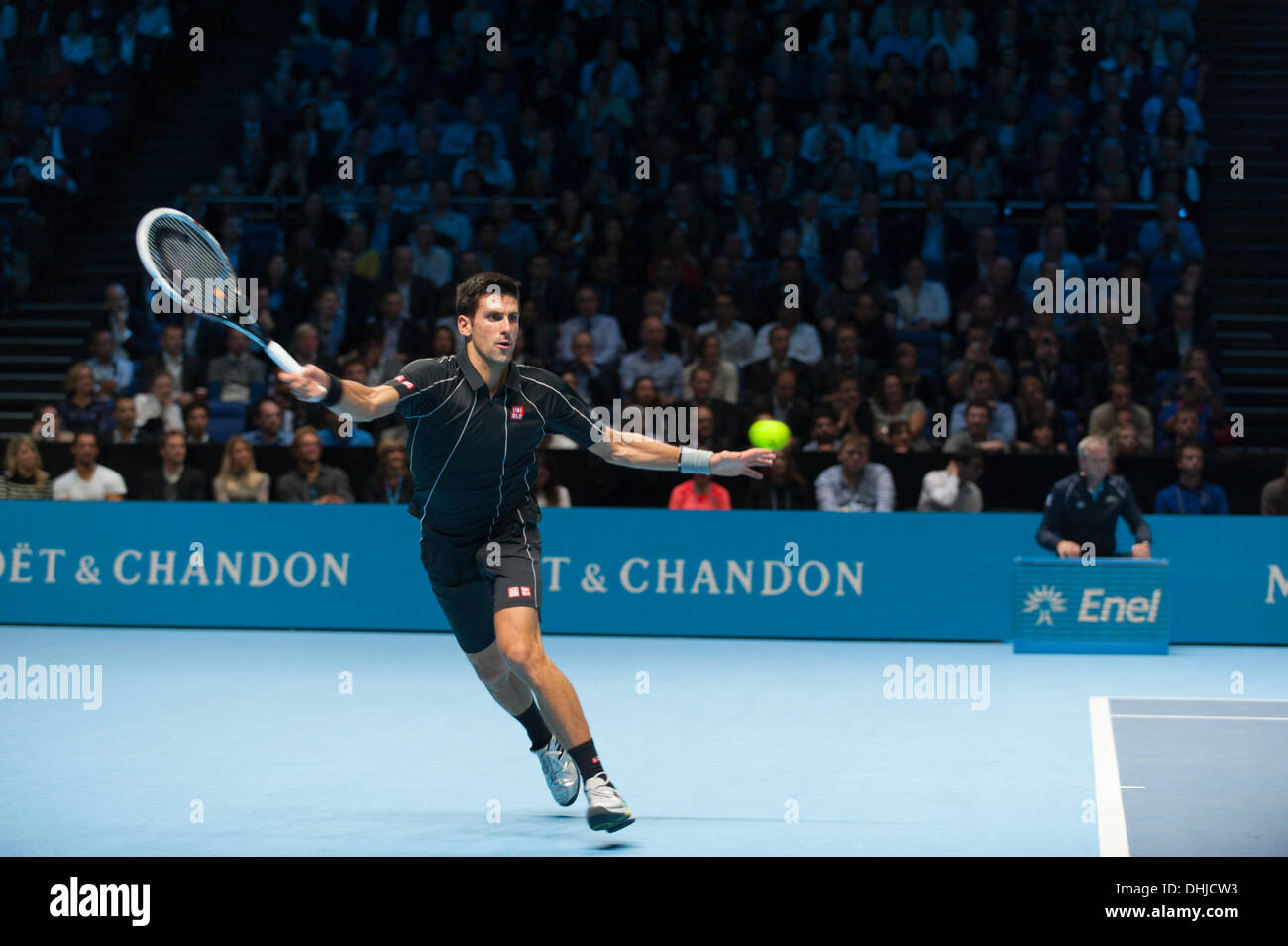 The O2, London, UK. 11th Nov, 2013. Novak Djokovic in action at the ATP World Tour Finals, winning the title and beating world number 1 Rafael Nadal © Malcolm Park editorial/Alamy Live News - Stock Image