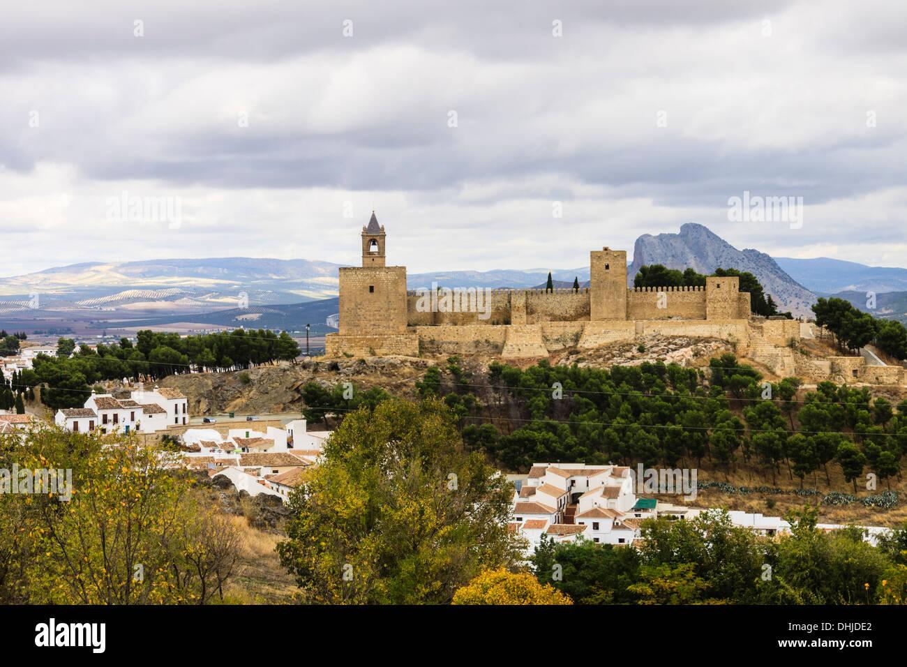 Antequera castle, Malaga province, Andalusia, Spain - Stock Image