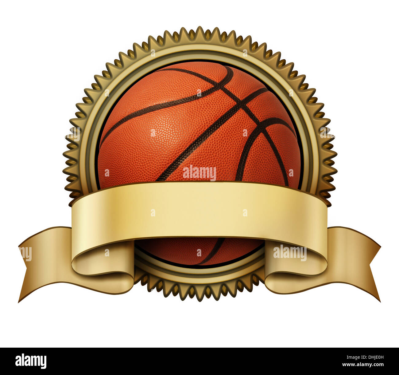 Basketball Award Crest On A Gold Medallion For Competition Stock Photo Alamy