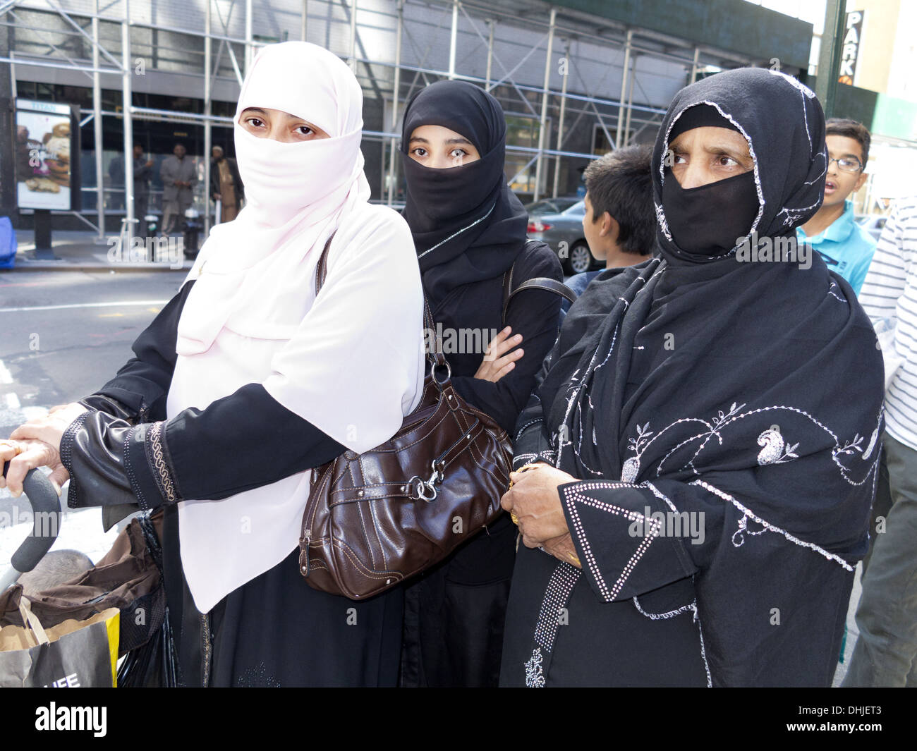 Women in hijabs and niqabs at Annual Muslim Day Parade, New York City, 2013. - Stock Image