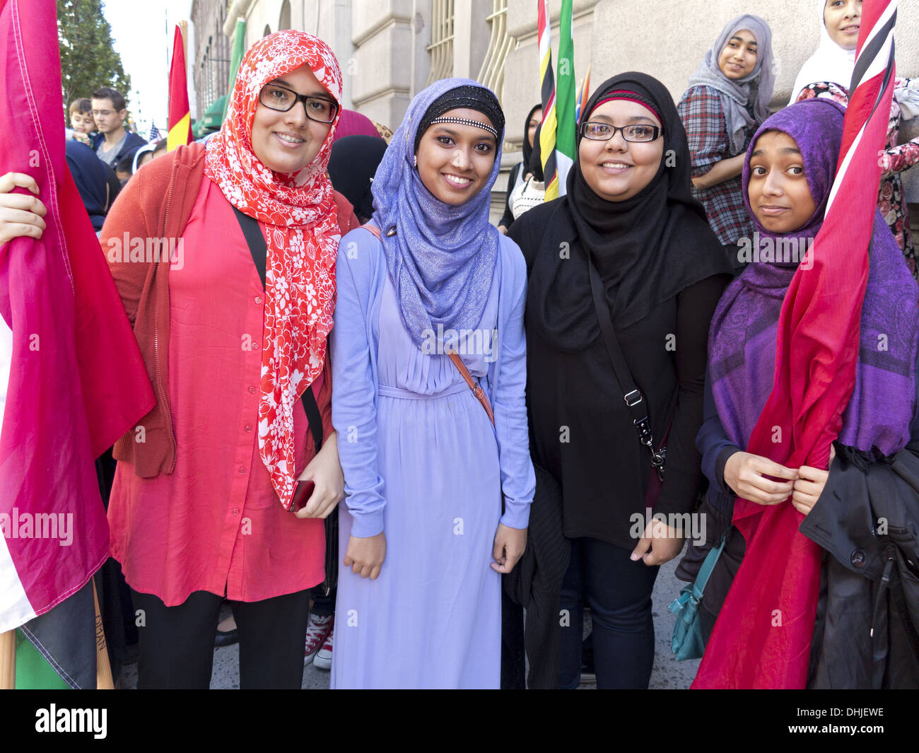 Muslim women of varied backgrounds at Annual Muslim Day Parade, New York City, 2013. - Stock Image