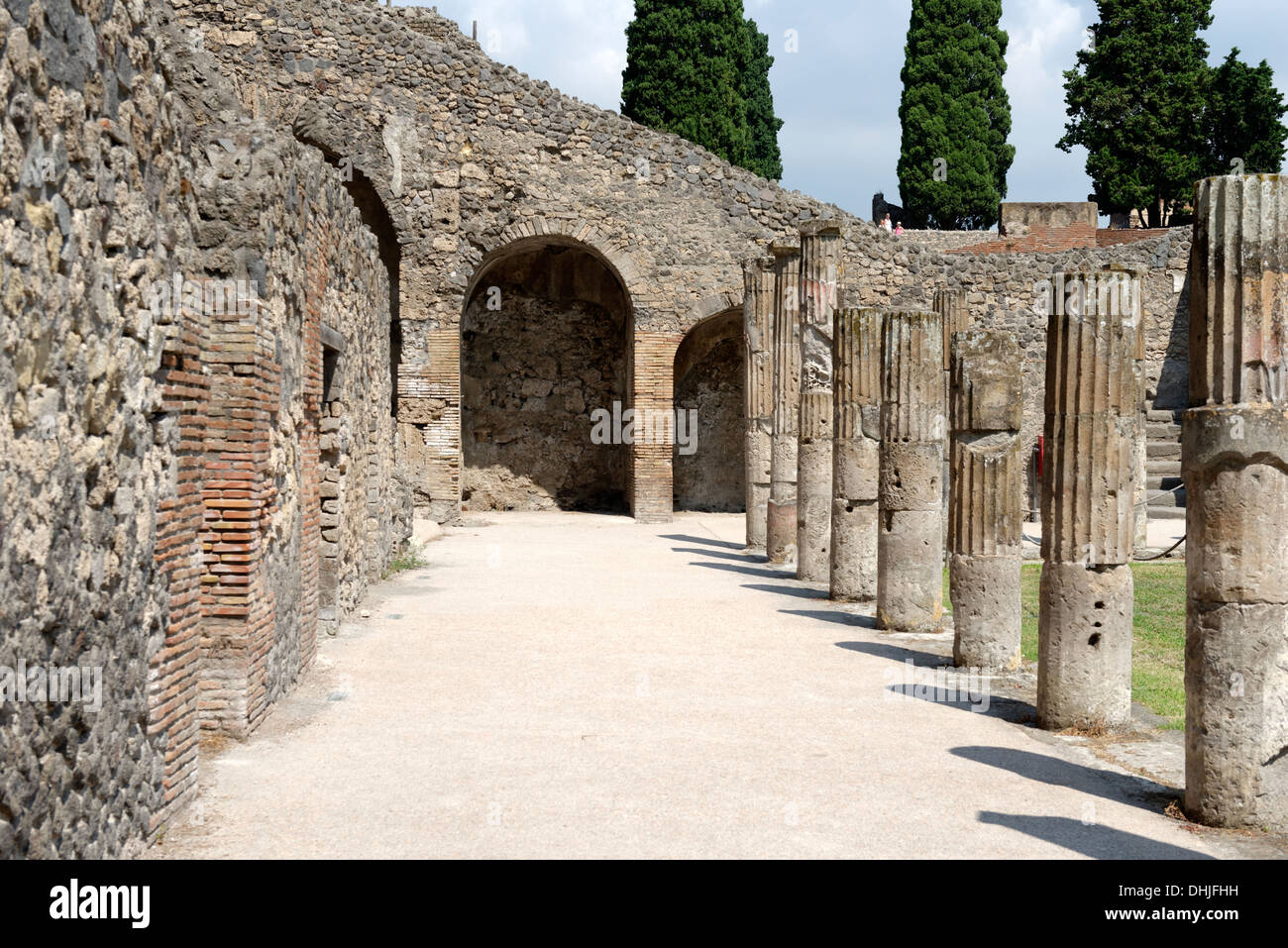The Arcaded Court of the Gladiators at Pompeii Italy. During the time of Nero the court was transformed into a barracks for Glad - Stock Image