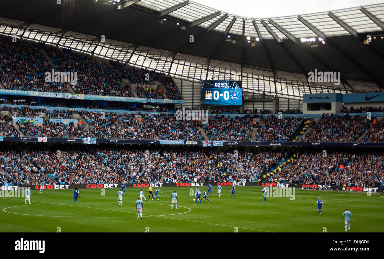 Manchester City v Everton Premiership football match, Etihad Stadium, Manchester, England, United Kingdom. - Stock Image
