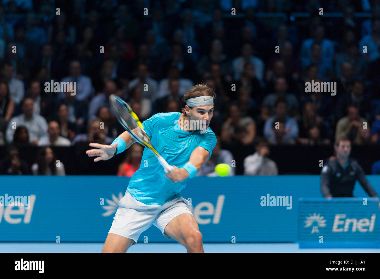 The O2, London, UK. 11 Nov, 2013. Rafael Nadal in action at the ATP World Tour Finals. Nadal lost the match 6-3 6-4 to Novak Djokovic © Malcolm Park editorial/Alamy Live News - Stock Image