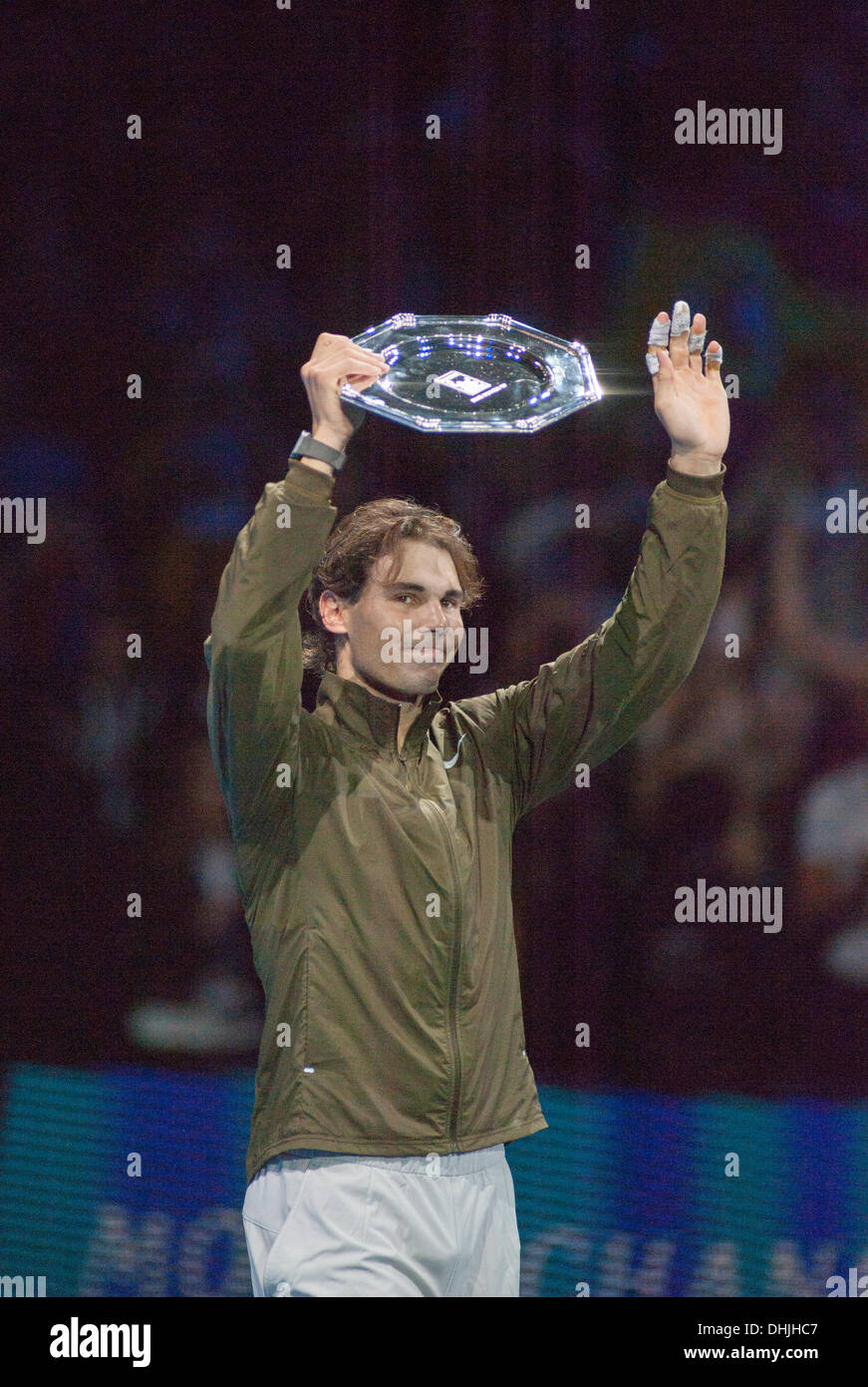 The O2, London, UK. 11 Nov, 2013. Rafael Nadal at the ATP World Tour Finals finishes runner-up, losing the match 6-3 6-4 to Novak Djokovic. © Malcolm Park editorial/Alamy Live News - Stock Image