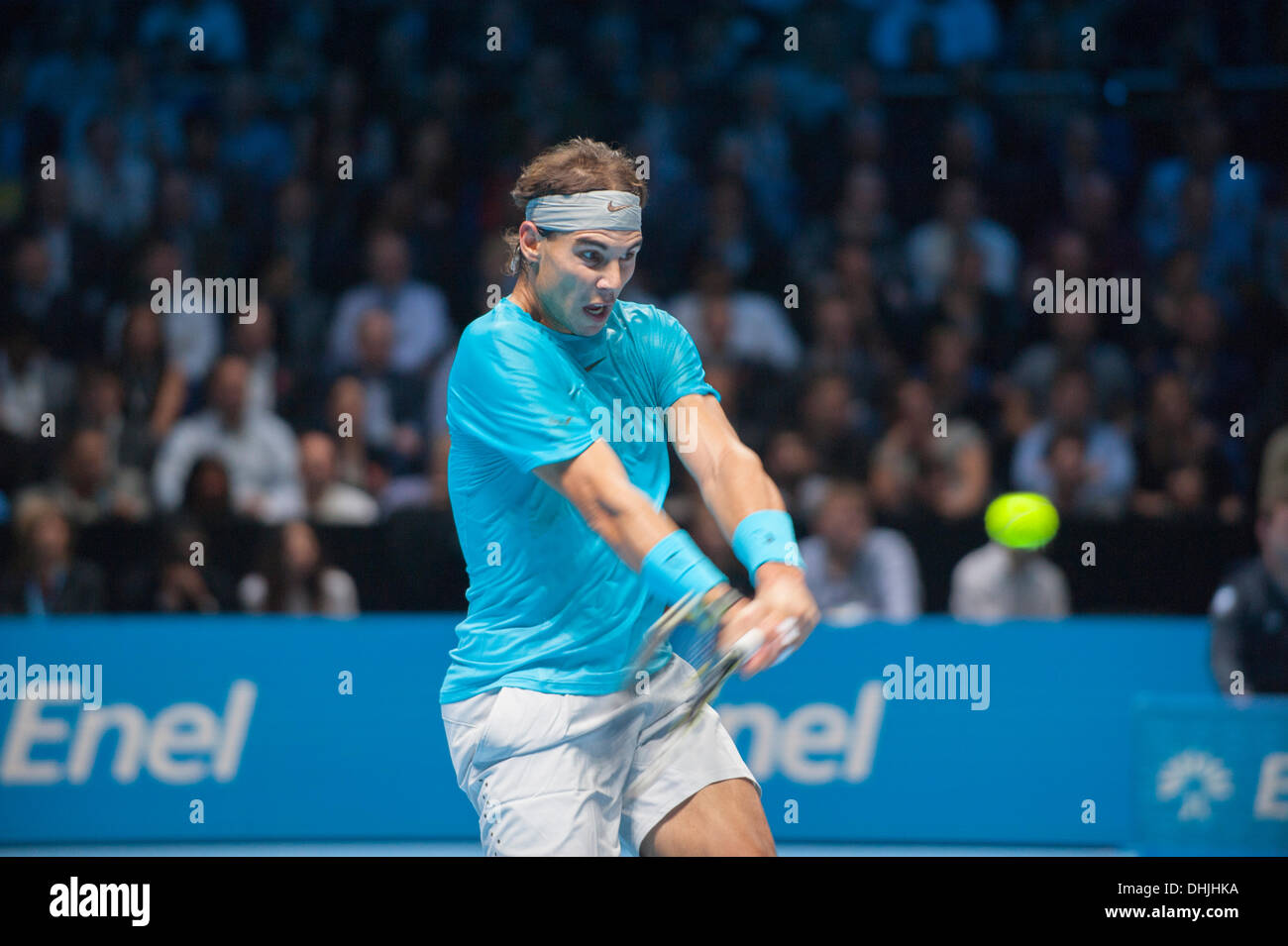 The O2, London, UK. 11 Nov, 2013. Rafael Nadal in action at the ATP World Tour Finals, eventually losing the match 6-3 6-4 to Novak Djokovic © Malcolm Park editorial/Alamy Live News - Stock Image