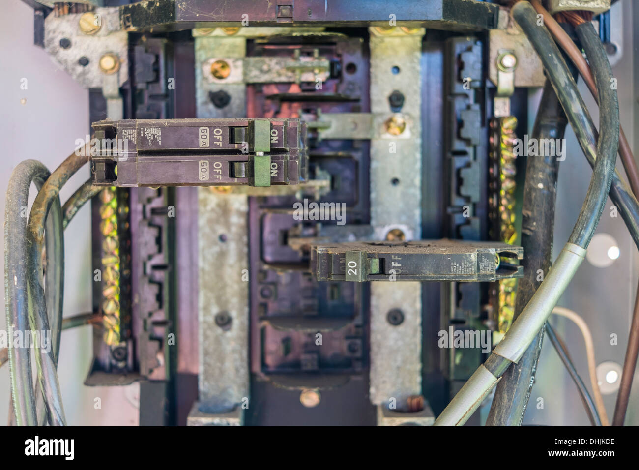Breaker Box Stock Photos Images Alamy Wiring To Usa Texas Close Up Of Interior Outdoor Electrical Image