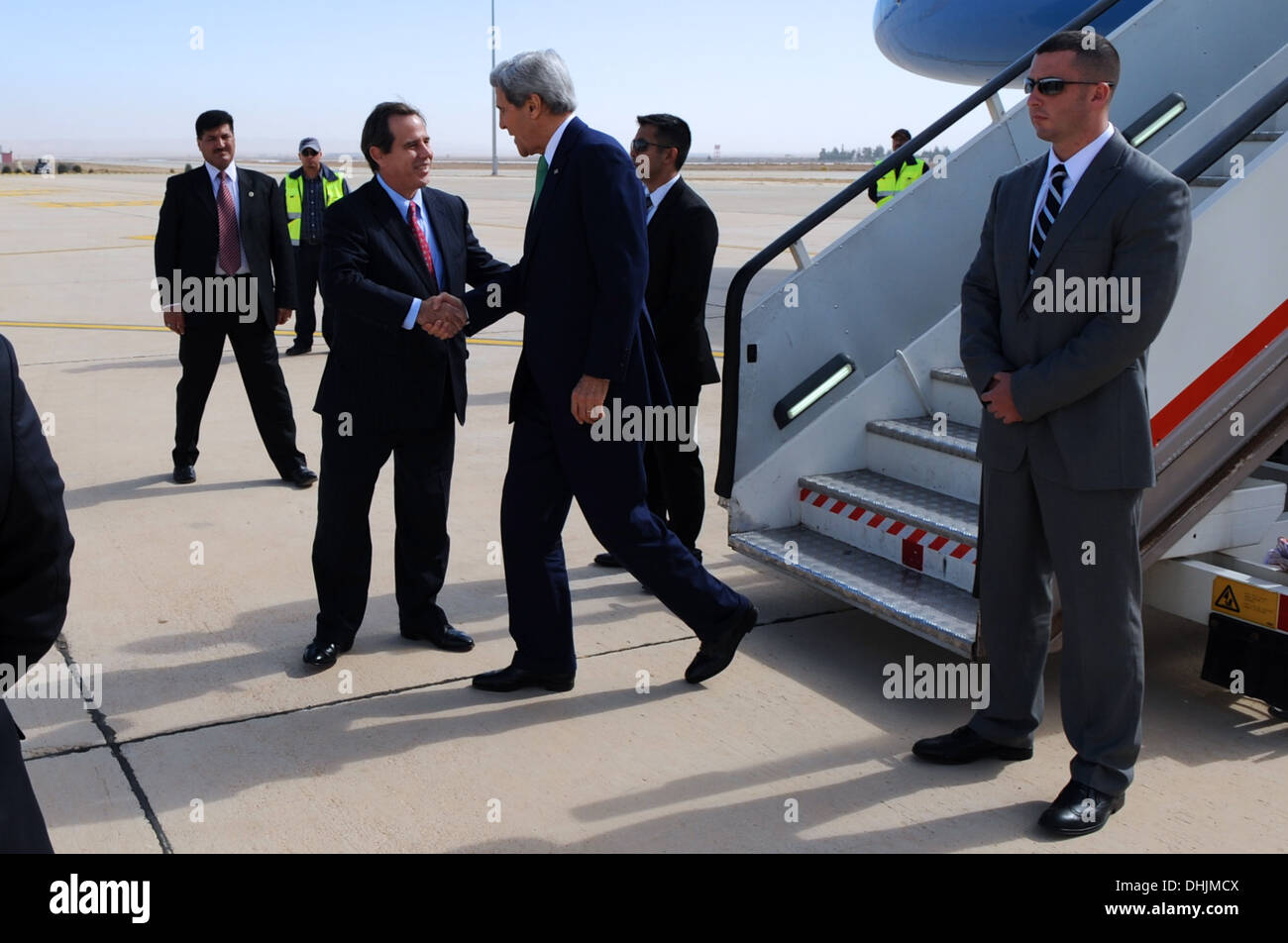 Secretary Kerry Arrives in Amman for Talks on Middle East Issues - Stock Image