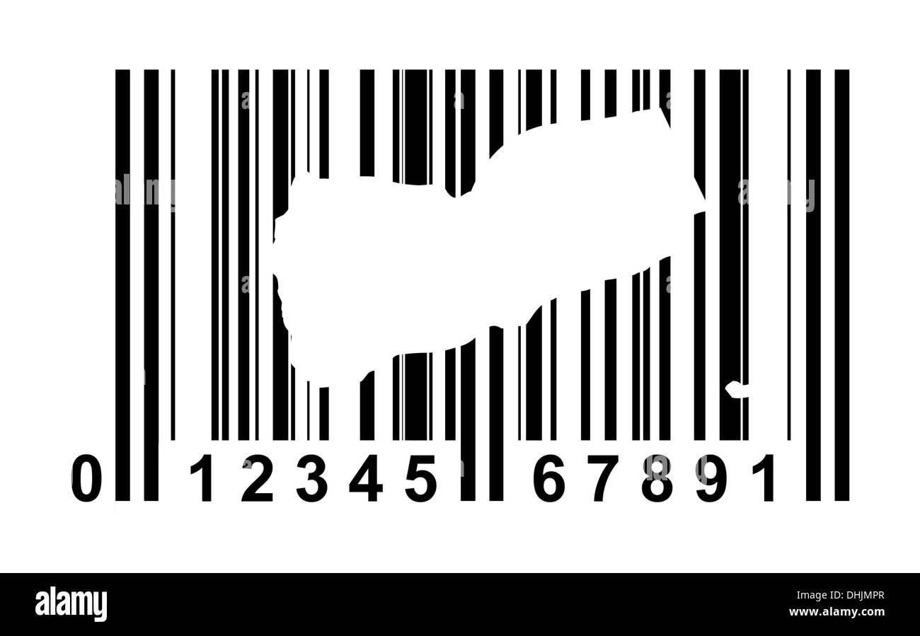 Yemen shopping bar code isolated on white background. - Stock Image