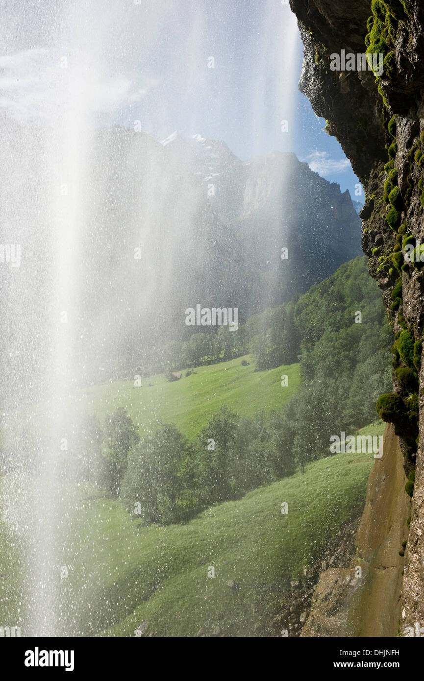 Staubbach Falls in the sunlight, Lauterbrunnen, canton of Bern, Switzerland, Europe - Stock Image