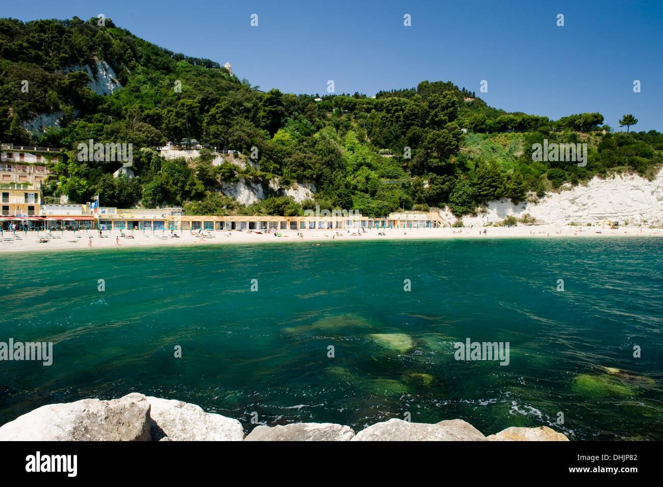 Sirolo beach, Sirolo, Marches, Marken, Italy - Stock Image