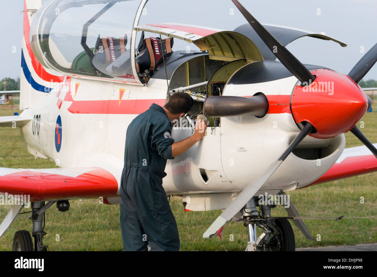 """""""Wings of storm"""" (Krila oluje) Croatian air force aerobatic team aircraft during a routine engine maintenance Stock Photo"""