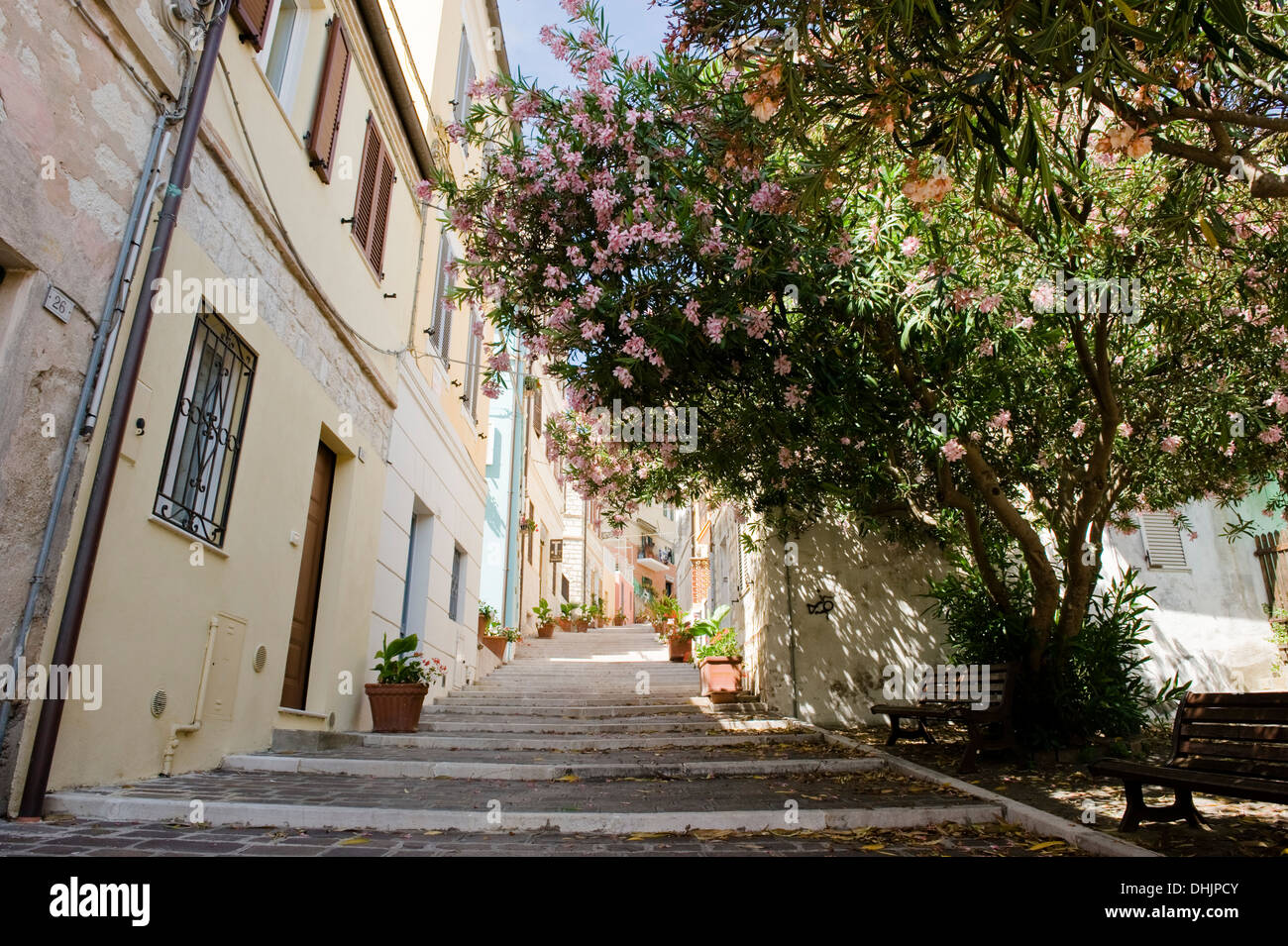 Alley in Numana, Marches, Marken, Italy - Stock Image