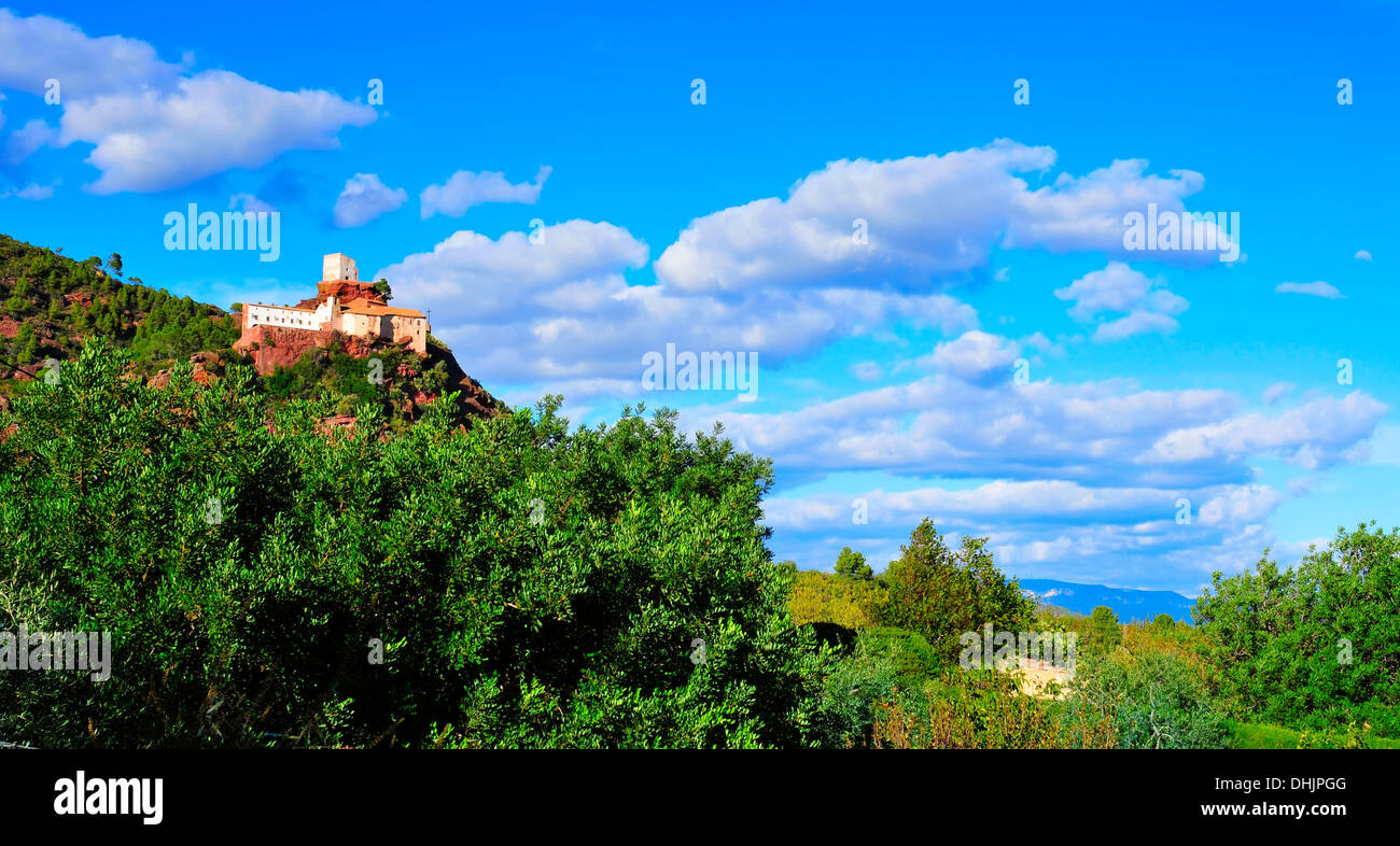 view of Shrine of Mare de Deu de la Roca, in the top of a hill, in Mont-roig del Camp, Spain - Stock Image