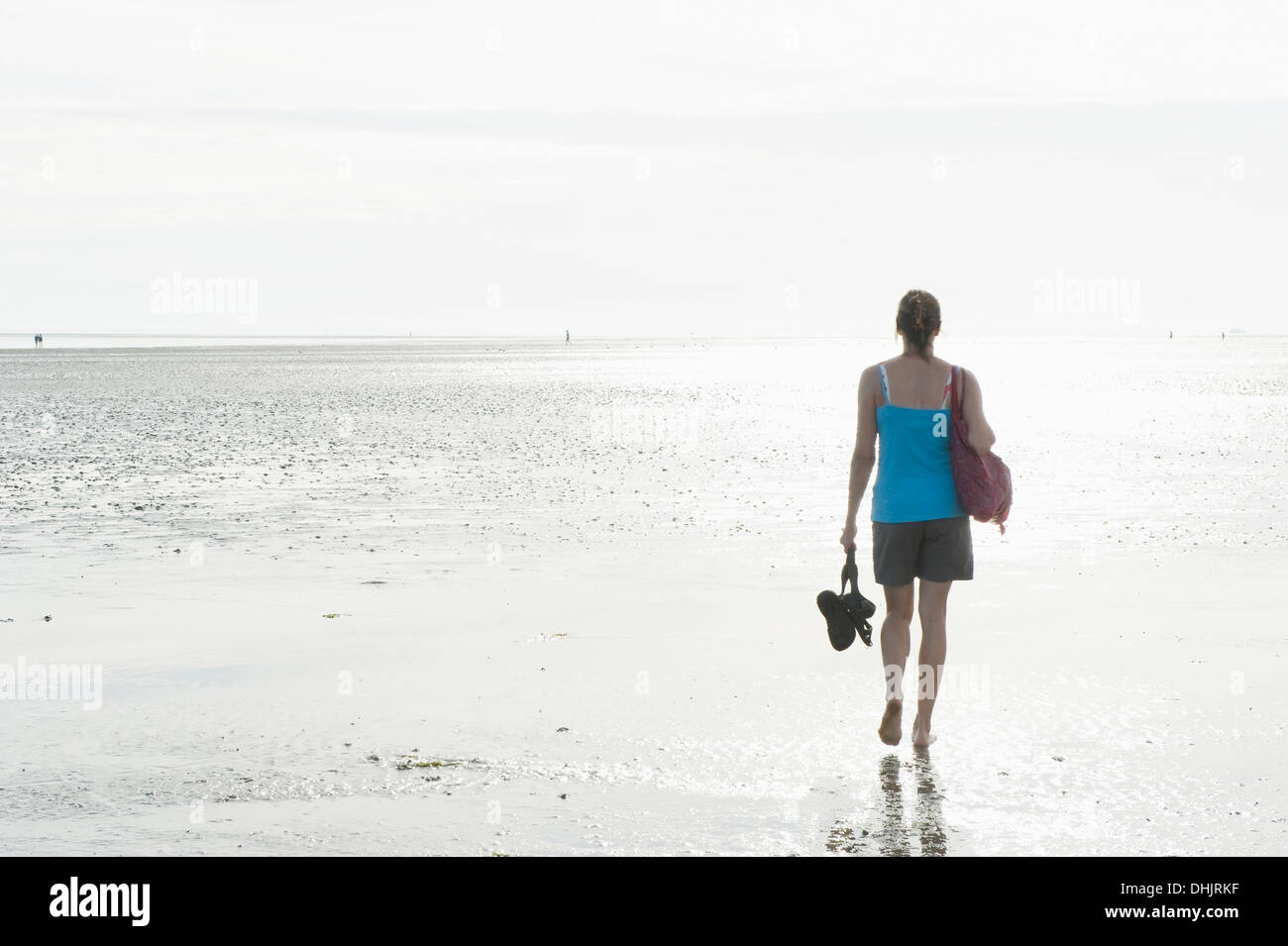 Woman walking barefooted through intertidal mudflats, Wattenmeer National Park, near Wyk, Foehr, North Frisian Islands, Schleswi - Stock Image