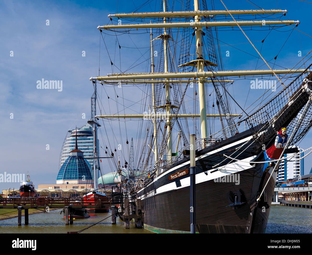 Harbour Museum, Atlantic Hotel Sail City and Mediterraneo, Bremerhaven, Bremen, Germany Stock Photo