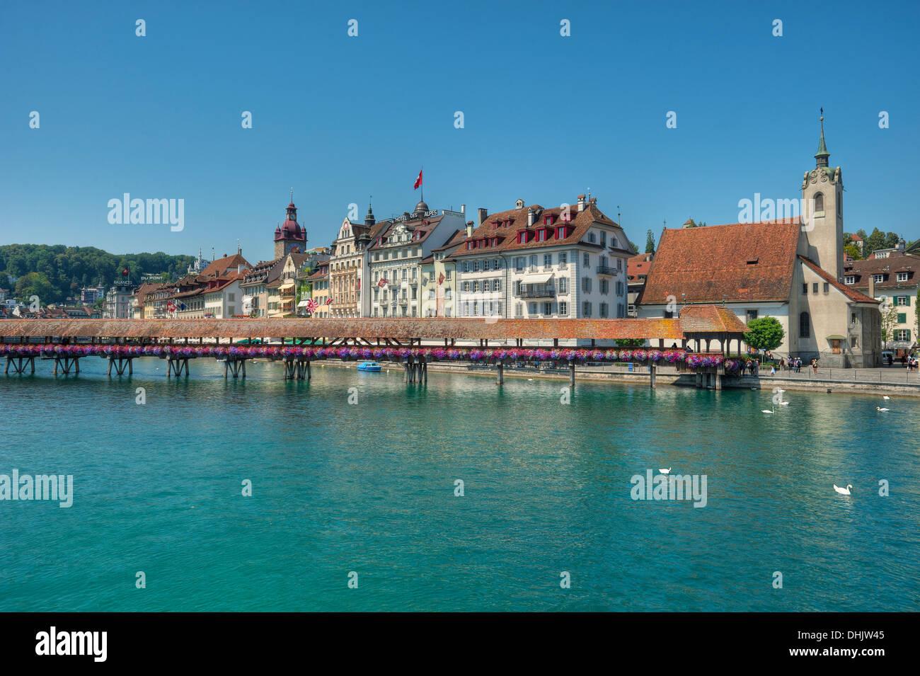 Reuss river with Chapel bridge, Lucerne, Lucerne, Switzerland, Europe - Stock Image