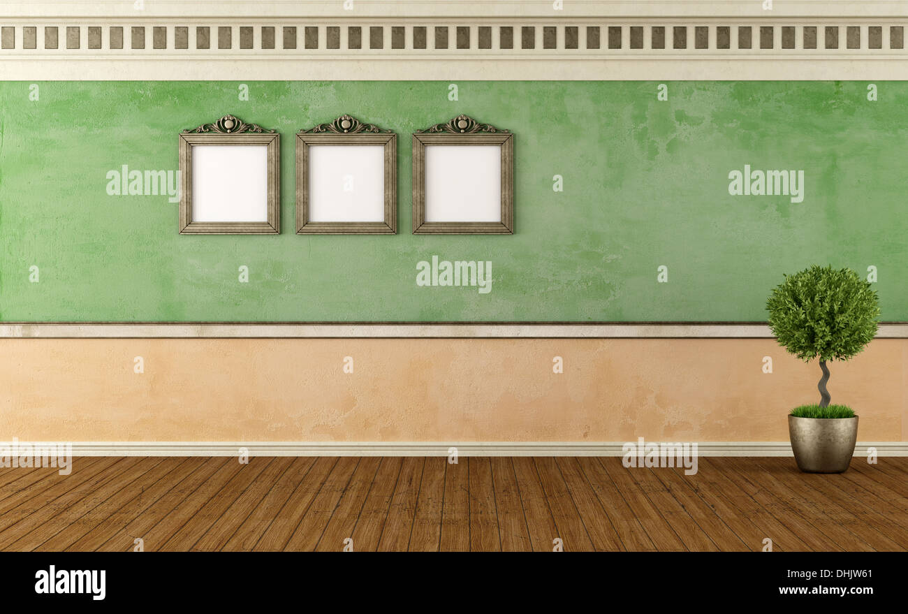 Old room with blank vintage frame and stucco wall - rendering Stock ...