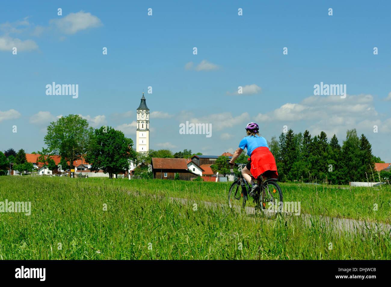 Germany, Bavaria, cyclist at Schlingen, near  Bad Woerishofen Stock Photo