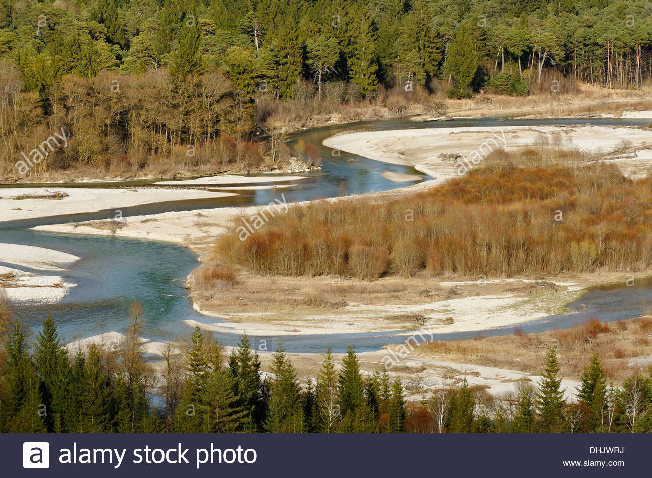 Germany, Bavaria, Pupplinger Au, view from Schlederloh to river Isar - Stock Image