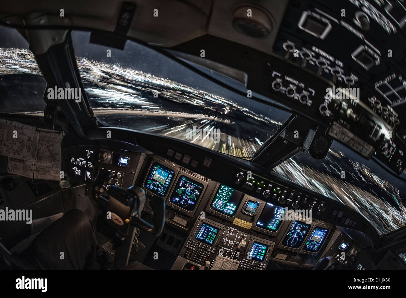 Cockpit view. Final approach for landing - Stock Image