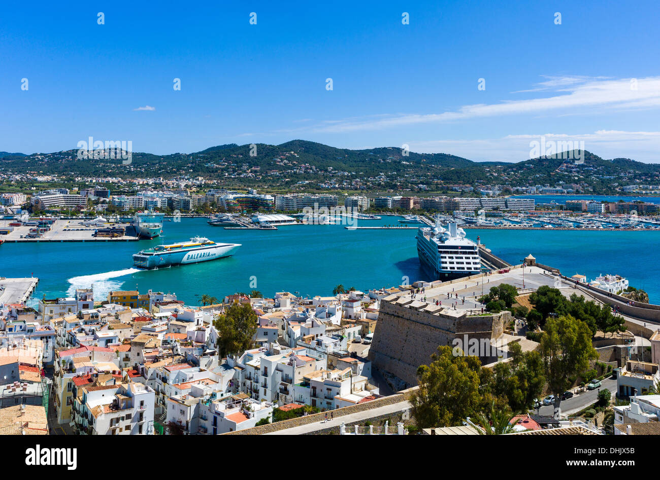 Europe, Spain, Balearic islands Eivissa, Ibiza panorama of the harbor seen from the old town Dalt Vila ramparts - Stock Image