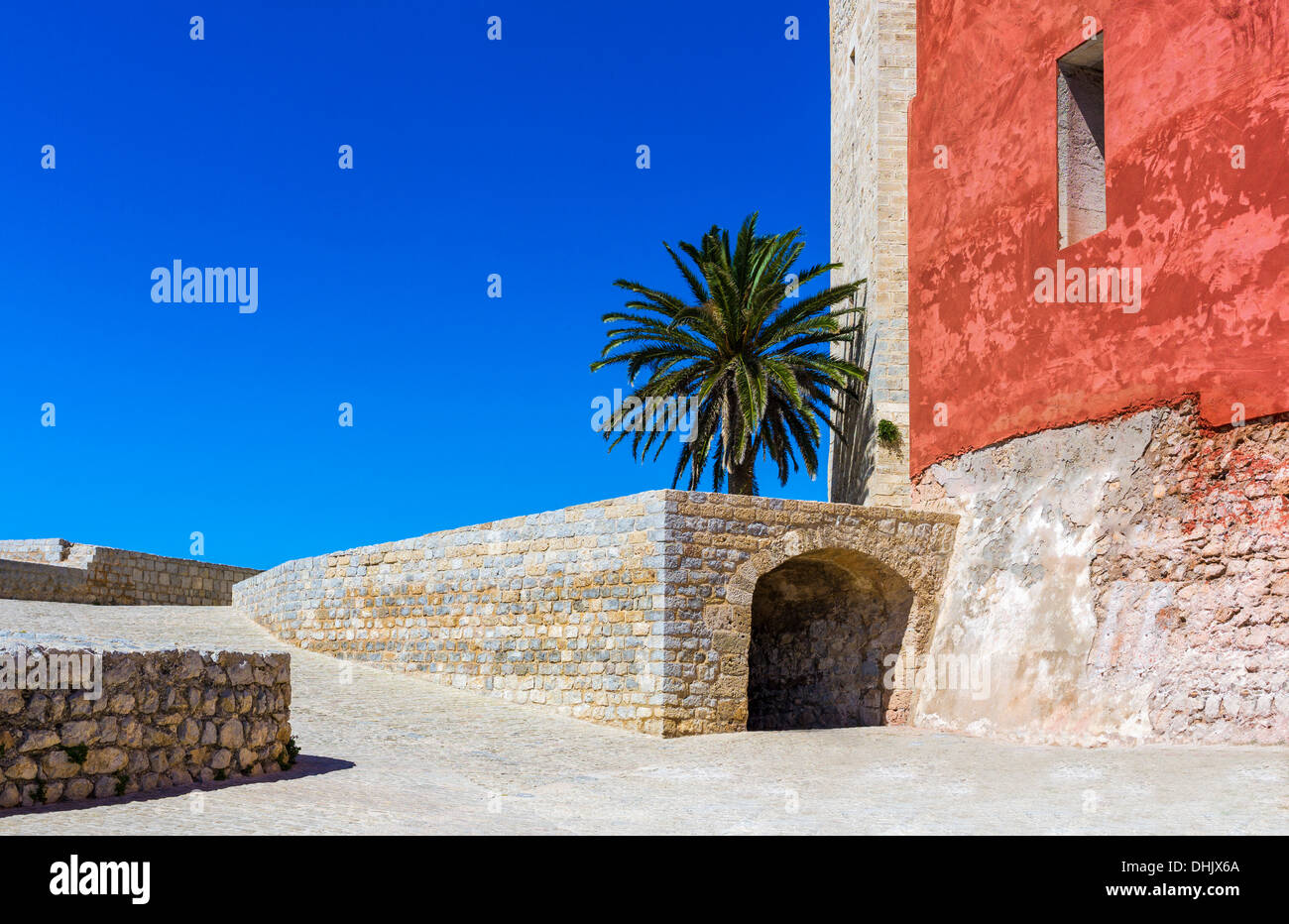 Europe, Spain, Balearic islands, Eivissa, Ibiza, old town, Dalt Vila, the ramparts area behind the Cathedral - Stock Image