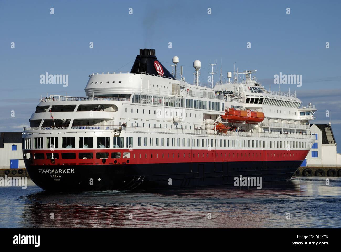 MS Finnmarken in Stamsund - Stock Image