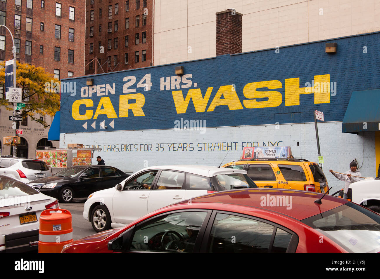 24 Hour car wash, Chelsea, New York City, United States of America. - Stock Image
