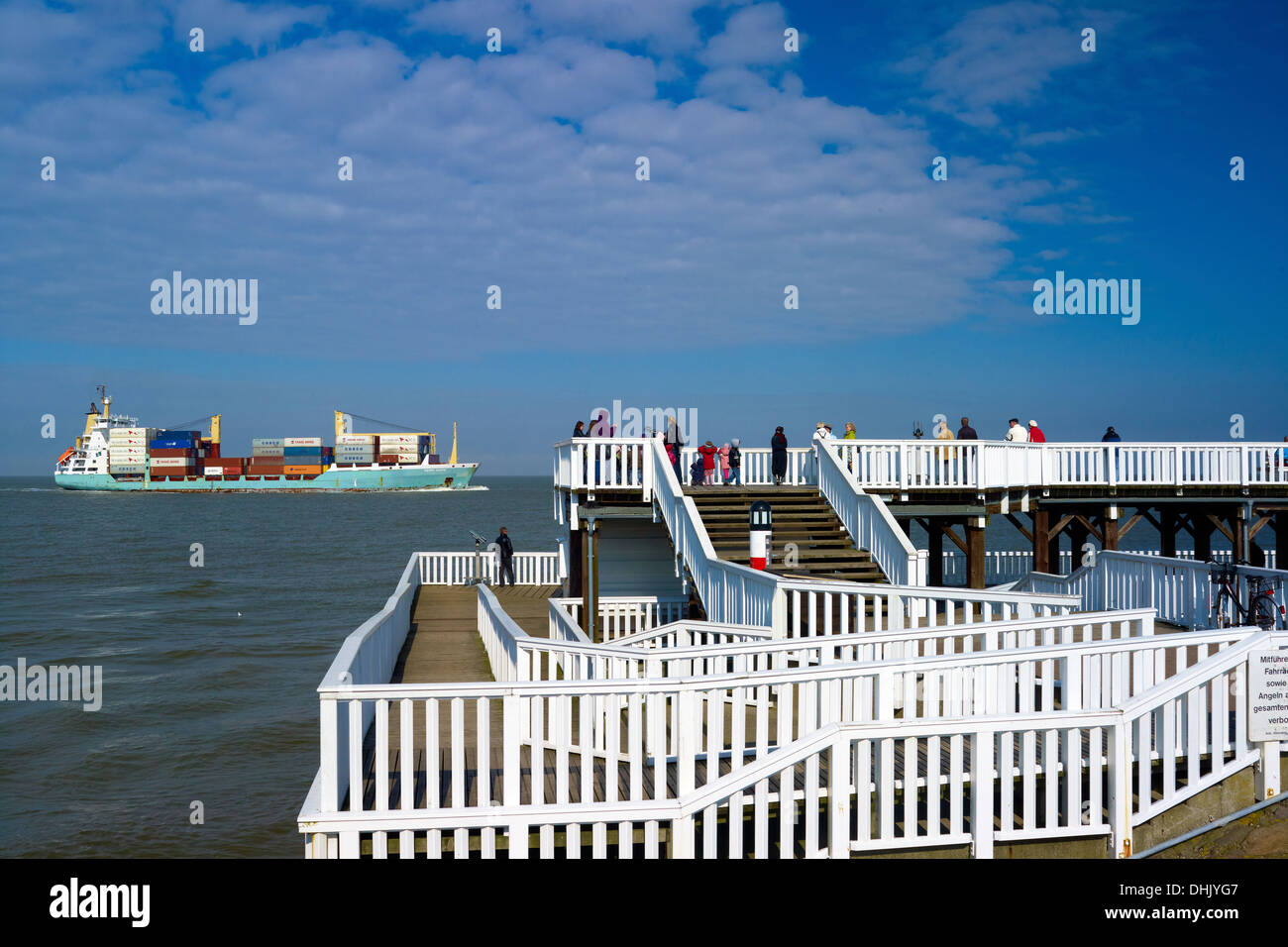 Harbor jetty at Alte Liebe, Cuxhaven, Lower Saxony, Germany - Stock Image
