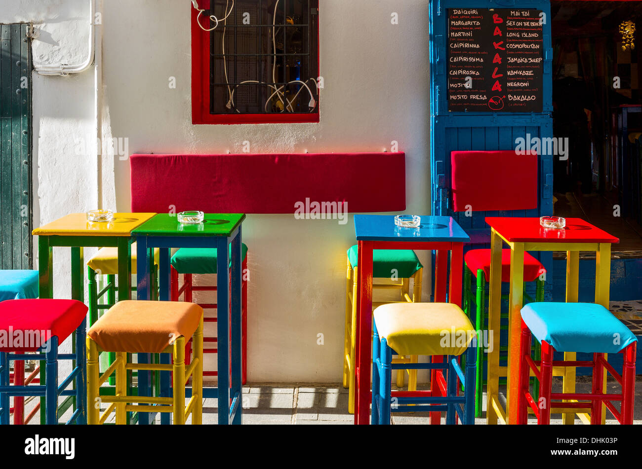Europe, Spain,  Balearic islands, Eivissa (Ibiza) a colored bar in the old town - Stock Image