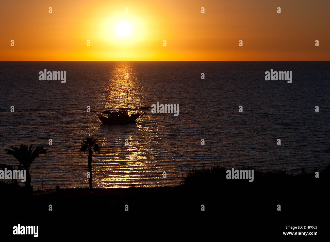 Sunset in Paphos Cyprus - Stock Image