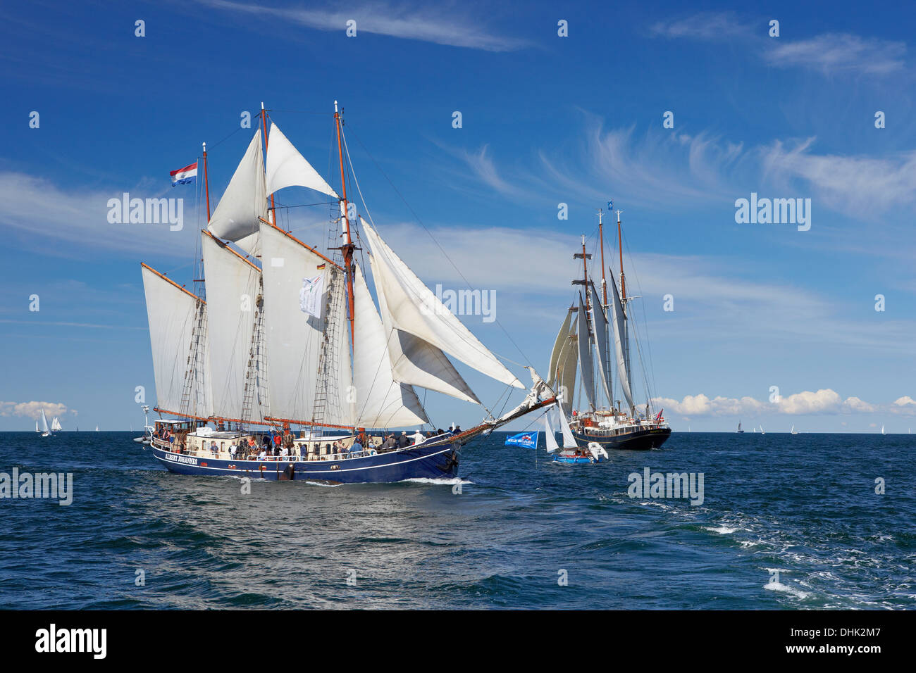 Sailing ships on Baltic Sea on their way to Hanse Sail, Rostock Warnemuende, Mecklenburg Western Pomerania, Germany, Europe - Stock Image