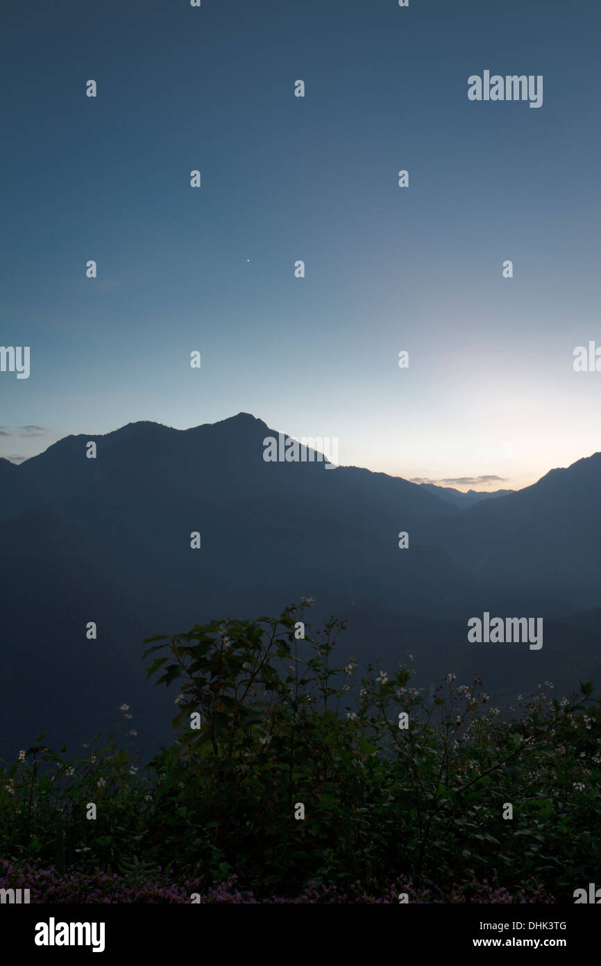 Several minutes after sunset in the North West of Vietnam near Sapa - Stock Image
