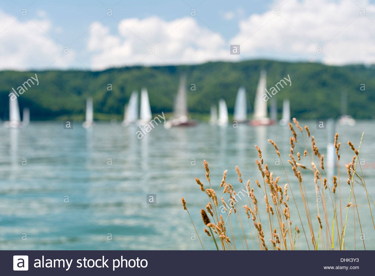 Germany, Baden-Wurttenberg, Sipplingen, Boats in front of Bodanruck on  Lake Constance - Stock Image